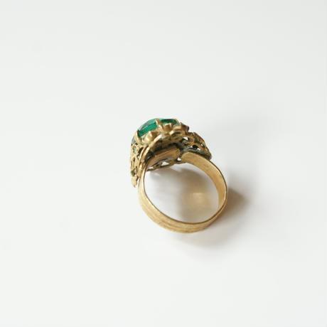 Special price【スペシャルプライス】チェコガラス グリーン ガラス フィリグリー リング 指輪 / ヴィンテージ・アンティークジュエリー