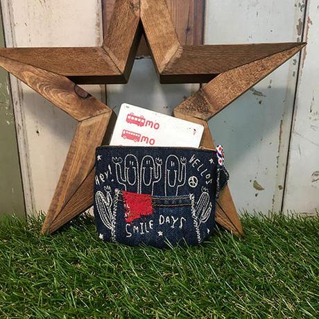 ひょっこりサボテン刺繍デニムコインカードケース(ポーチ)