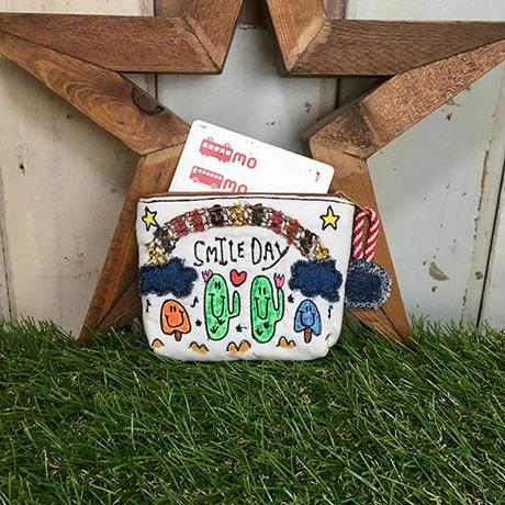 サボテン&キノコ刺繍コインカードケース(ポーチ)