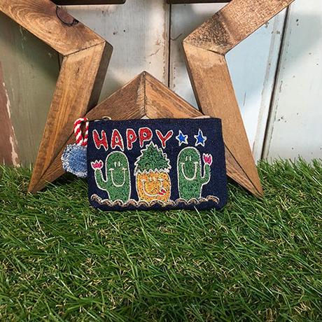 サボテン&パイナップルカラー刺繍コインケース(ポーチ)