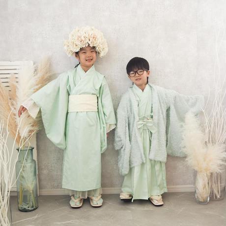 【レンタル】2 ステップ着物(7歳用ミント)