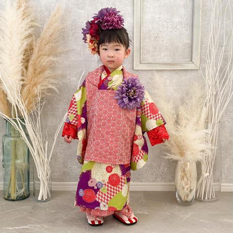 【レンタル】2 ステップ着物(3歳用牡丹花柄)