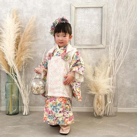 【レンタル】2 ステップ着物(3歳用マーガレット花柄)