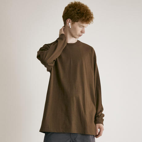 Loose cotton L/S Tee(D.BRN)