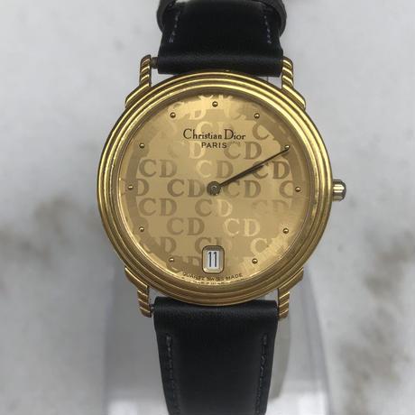 Christian Dior/ vintage gold ×leather quartz .090