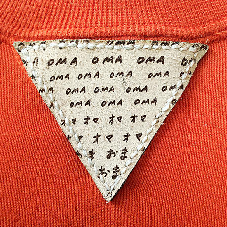 【on RUSSELL】OMA gazette sweatshirt | leather with laser  orange / wine red