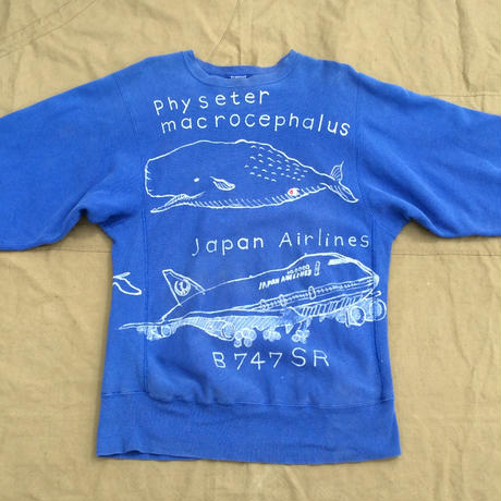 【on champion】OMA overdrawing トレーナー39 (2TOP line)「飛行機と鯨|Airplanes and whales」