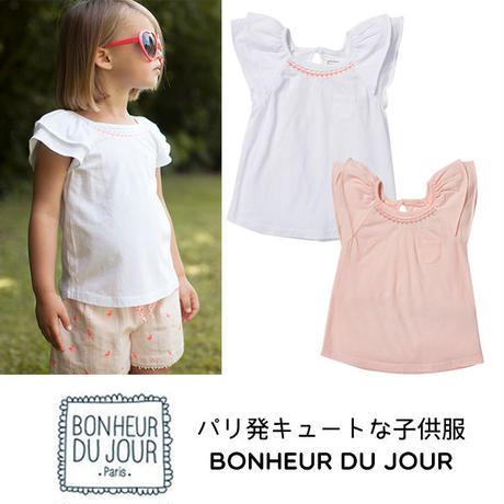 BONHEUR DU JOUR パリの子供服 刺繍入りTシャツ(17001)