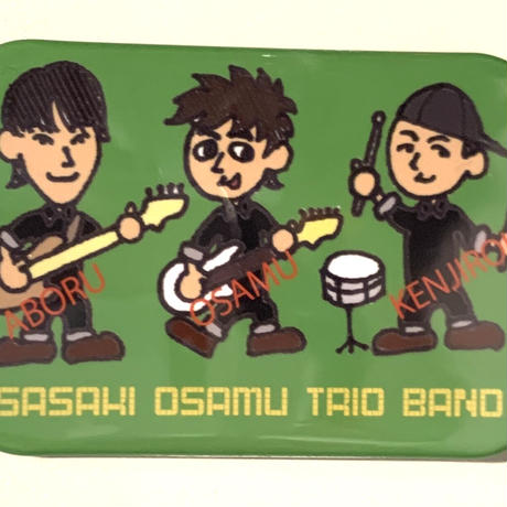 SASAKI OSAMU TRIO BAND 緑(イラスト)(缶バッジ角丸)