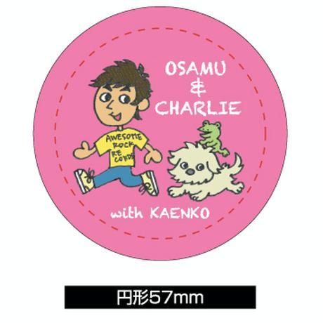 OSAMU & CHARLIE with KAENKO ピンク(缶バッジ大)