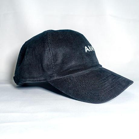 A&W文字コーデュロイローキャップ:ブラック