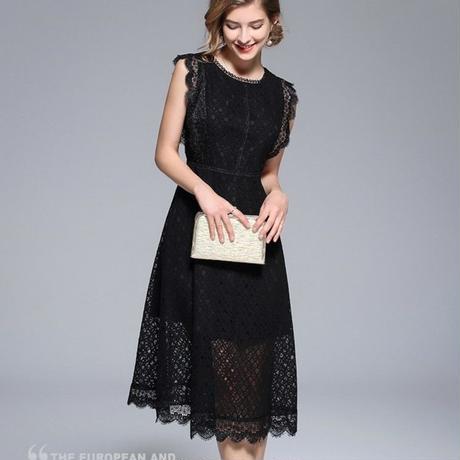 ノースリーブレースワンピース 結婚式 パーティー ドレス  大きいサイズ  黒 ブラック