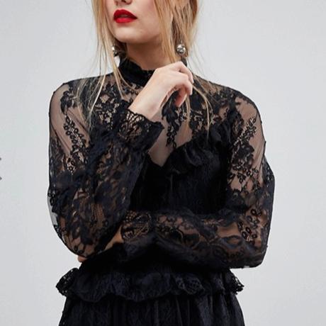 エイソス ワンピース  レースドレス フリル 黒 Lace Dress With Ruffle Detail