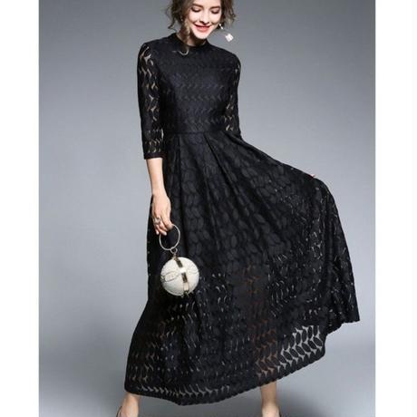 ハイウエストレースフレアワンピース 結婚式 パーティー ドレス ロング 大きいサイズ  七分袖