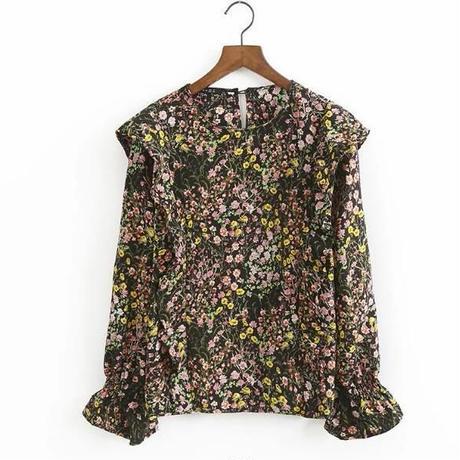 レトロ 花柄ブラウス シャツ