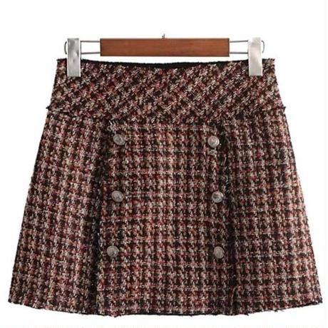 ツイードスカート  コーデ チェック
