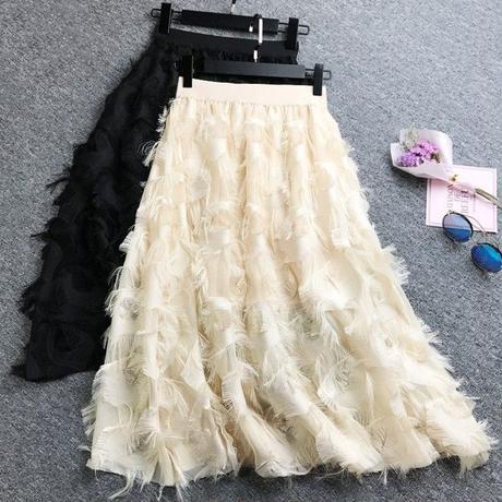 フェザーロングスカート 結婚式 パーティー  大きいサイズ  白 ホワイト  黒 ブラック