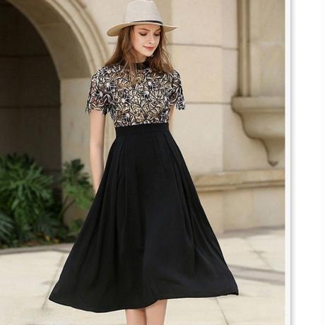 バイカラー レ―ス切り替えワンピース 結婚式 ドレス ロング 大きいサイズ 黒 半袖