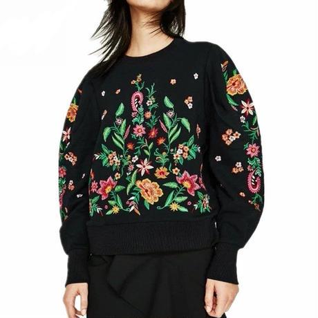 花柄 刺繍 トレーナー スウェットフラワー