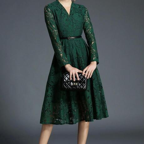 c557199681e83 ... Vネックレースワンピース 結婚式 お呼ばれ 二次会 謝恩会 ドレス グリーン 緑 大きいサイズ ...