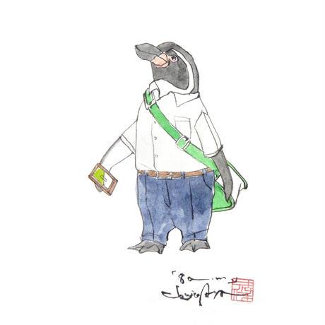 【原画】『8a.m.』紙本彩色ペンギン