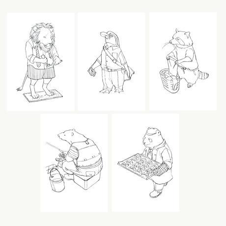 【ポストカード塗り絵】5枚セット(シロクマ,パンダ,ライオン,ペンギン,アライグマ)