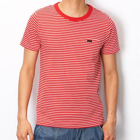 【Lee】PACK POCKET T(Border Red)/パックポケットティーシャツ(ボーダーレッド)