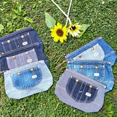 【Lee】OVERALL POUCH(Mediumcolor Blue×Hickory)/オーバーオール ポーチ(中色ブルー×ヒッコリー)