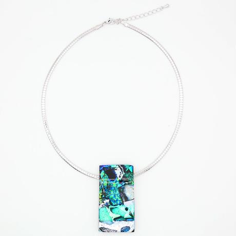大ぶりワイヤーネックレス ブルー (0006)