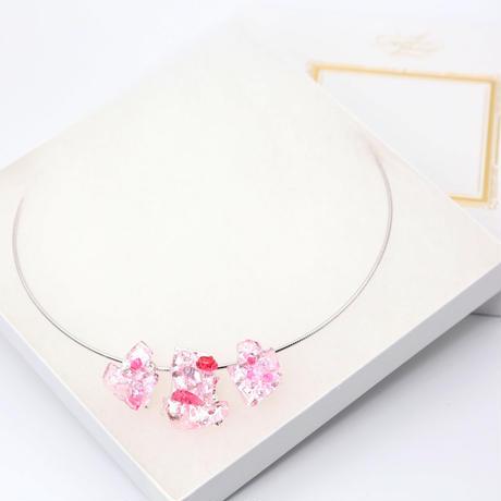 ワイヤーネックレス 3連 ピンク (0009)
