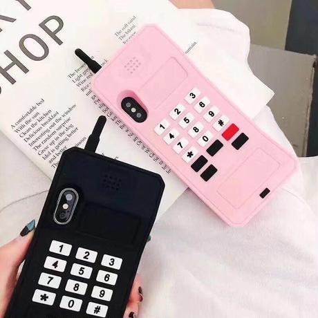 レトロな携帯電話のiPhoneケース・ブラック