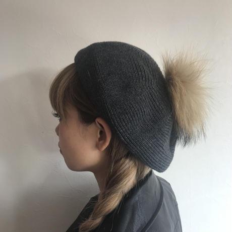 ファーぽんぽんニットベレー帽