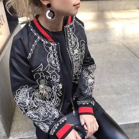 刺繍ナイロンブルゾン