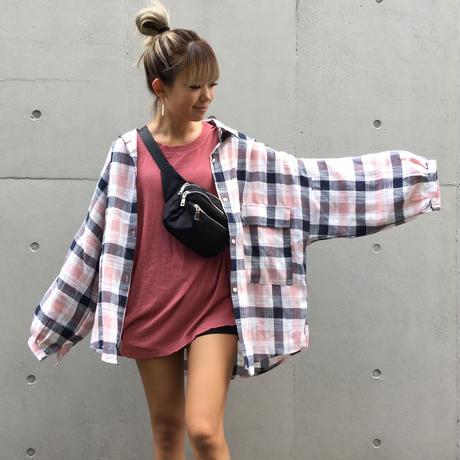たぽ袖BIGチェックシャツ「pink」