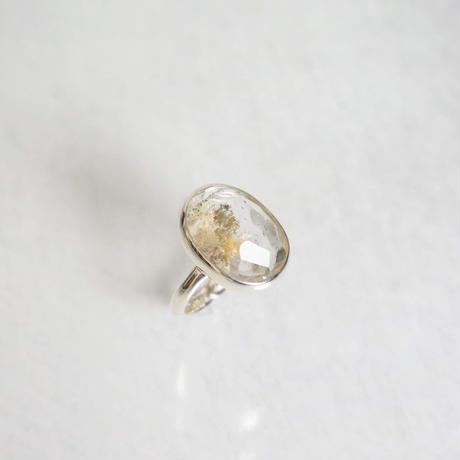 Half cut Garden quartz  Ring