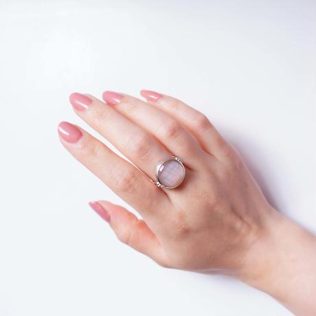 Pink shell×Quartz  Ring