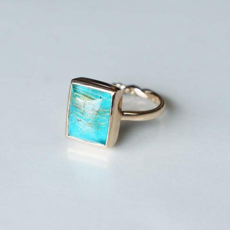 Turquoise × Rutilated quartz Ring