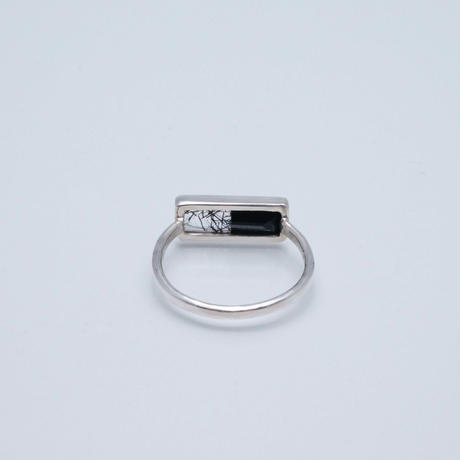 Onyx ×Black rutile quartz  Ring