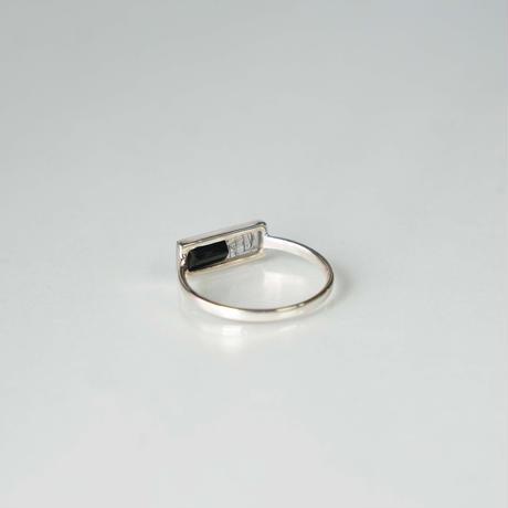 Onyx ×Black rutile quartz  Ring