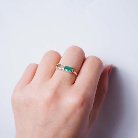 Green agate×Green amethyst  Ring