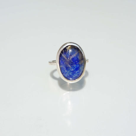 Lapis lazuli×Gold rutile quartz  Ring.01.