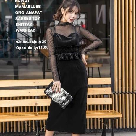 ベロア  ワンピース  シースルー ベロアキャミ 結婚式 タイトスカート セットアップ   ドレス  フォーマル タイト  パーティドレス  黒  ブラック  長袖 韓国
