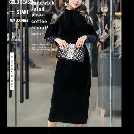 ベロア   ワンピース   ドレス   フォーマル フリルスリーブ  結婚式 卒業式  韓国 膝下丈   パーティドレス タイトドレス   黒   ブラック   長袖