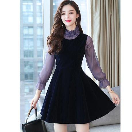 フリルインナー ベロア ミニワンピース 膝上丈 結婚式 パーティー ドレス  大きいサイズ  黒 ブラック フリル袖 デートコーデ 韓国