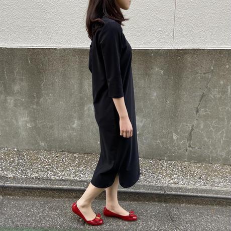 【受注生産】【ブラック】エルテワンピース(前後2WAY・ストレッチ・自宅で洗濯OK・ポケット付)|アミーライン