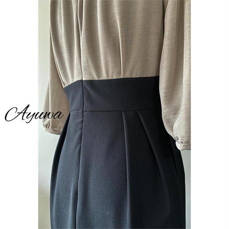 【モカ×ブラック】七分袖 丸襟 ブラウジング袖ワンピース