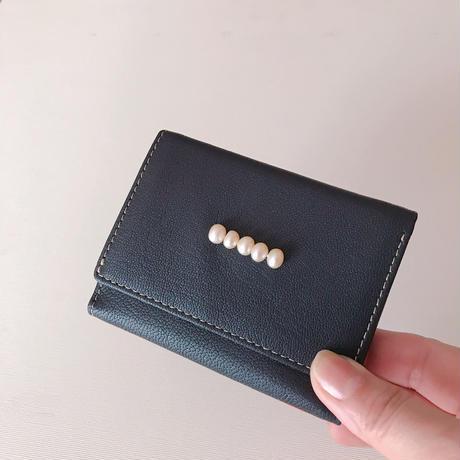 淡水パールの三つ折り財布 ネイビー