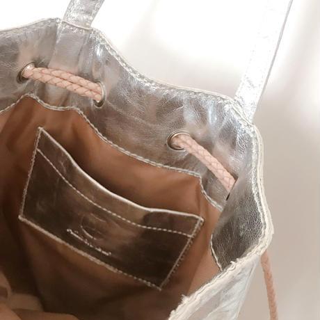 ジビエレザー巾着バッグ バイカラー