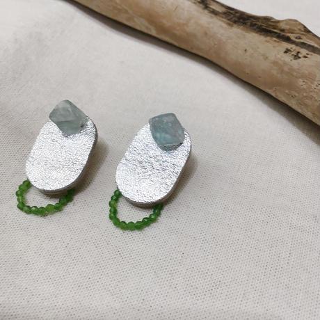 天然石とレザーのピアス