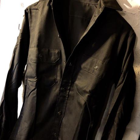 60,s vintage U.S.A. Rock'n Roll Wokers Shirt BLACK 希少14SHORTデッドストック